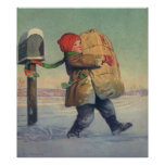 Vintage Christmas, Child with Large Package Poster