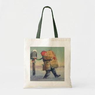 Vintage Christmas, Child with Large Package Tote Bag