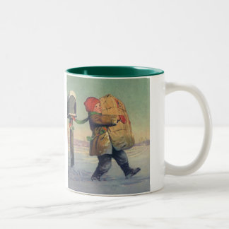 Vintage Christmas, Child with Large Package Two-Tone Coffee Mug