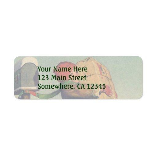 Vintage Christmas, Child with Package Custom Return Address Label