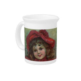Vintage Christmas child with red Victorian Dress Beverage Pitcher