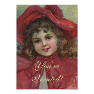 Vintage Christmas child with red Victorian Dress Card