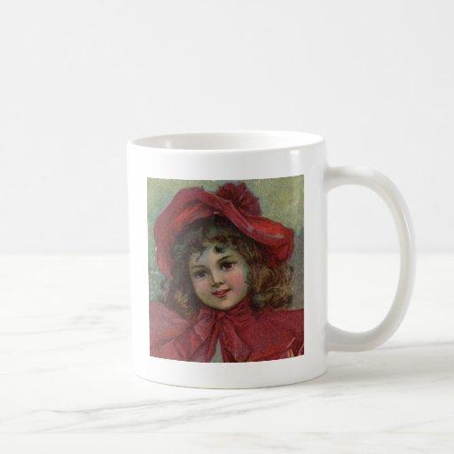 Vintage Christmas child with red Victorian Dress Mug