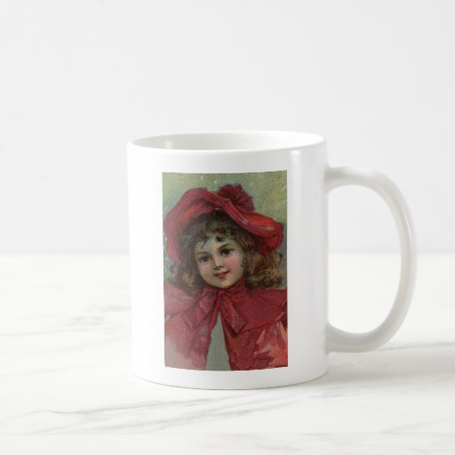 Vintage Christmas child with red Victorian Dress Mugs