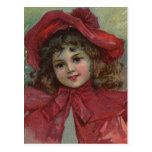 Vintage Christmas child with red Victorian Dress Post Card