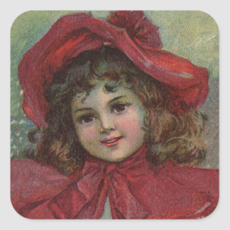 Vintage Christmas child with red Victorian Dress Stickers