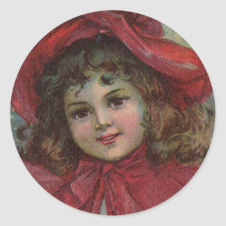 Vintage Christmas child with red Victorian Dress Sticker