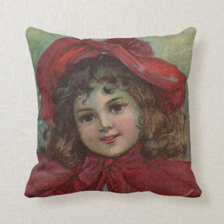 Vintage Christmas child with red Victorian Dress Throw Pillow