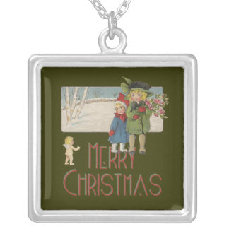 Vintage Christmas Children and Cherub Art Print Silver Plated Necklace