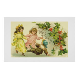 Vintage Christmas Children and Holly Poster