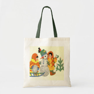Vintage Christmas, children and snowman Tote Bag