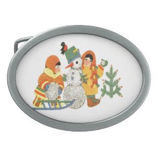 Vintage Christmas children and snowman Oval Belt Buckle