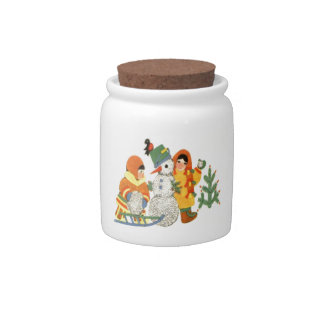 Vintage Christmas, children and snowman Candy Jar