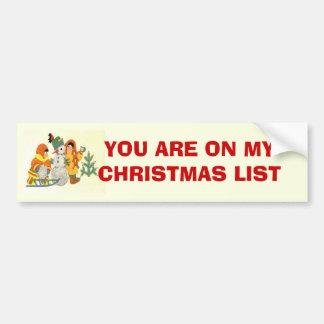 Vintage Christmas, children and snowman Car Bumper Sticker