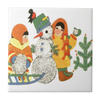 Vintage Christmas, children and snowman Small Square Tile
