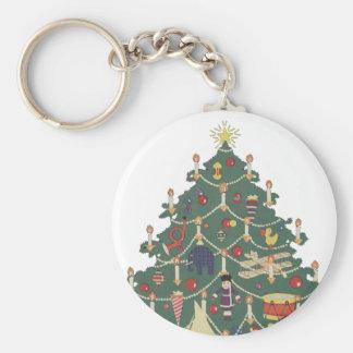 Vintage Christmas Children Around a Decorated Tree Basic Round Button Keychain
