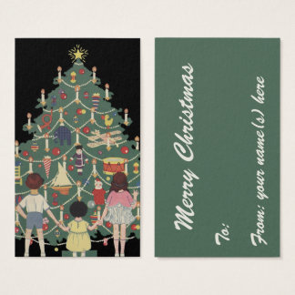 Vintage Christmas Children Around a Decorated Tree Business Card
