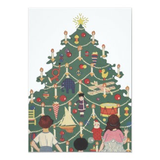 Vintage Christmas Children Around a Decorated Tree Card