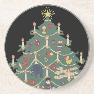 Vintage Christmas Children Around a Decorated Tree Drink Coaster