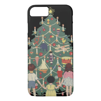 Vintage Christmas Children Around a Decorated Tree iPhone 8/7 Case