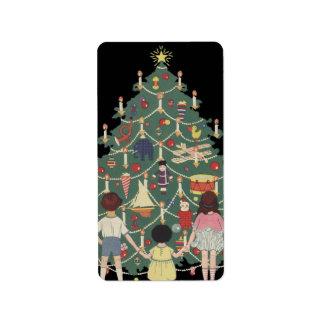 Vintage Christmas Children Around a Decorated Tree Label