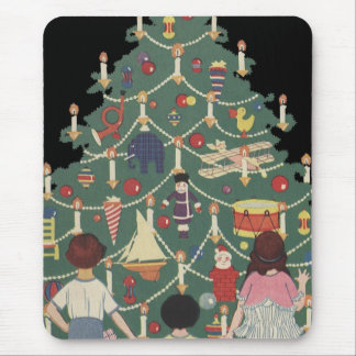 Vintage Christmas Children Around a Decorated Tree Mouse Pad