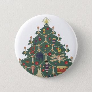 Vintage Christmas Children Around a Decorated Tree Pinback Button