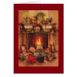 Vintage Christmas Children By The Fire Card