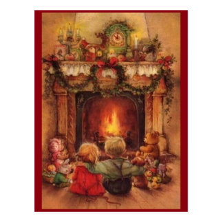 Vintage Christmas Children By The Fire Postcard