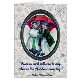 Vintage Christmas Children Greeting Card