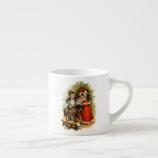 Vintage Christmas Children Espresso Cup