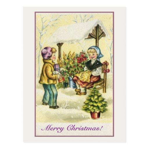 Vintage Christmas children flowers tree Postcard