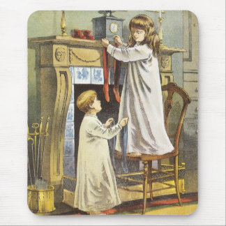 Vintage Christmas, Children Hanging Stockings Mouse Pad