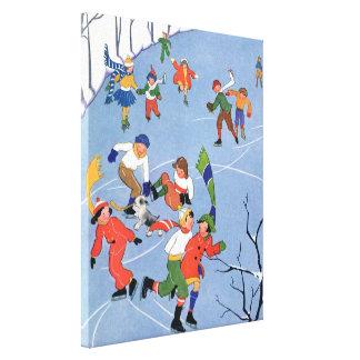 Vintage Christmas, Children Ice Skating on a Lake Canvas Print