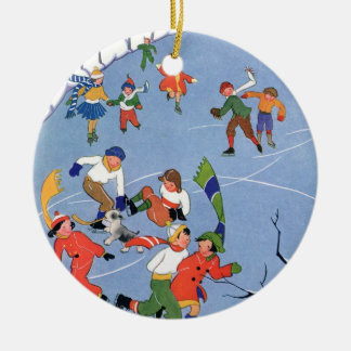 Vintage Christmas, Children Ice Skating on a Lake Ceramic Ornament