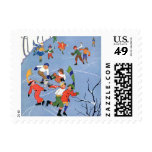 Vintage Christmas, Children Ice Skating on a Lake Stamps