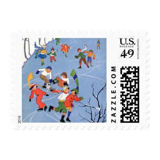 Vintage Christmas, Children Ice Skating on a Lake Postage