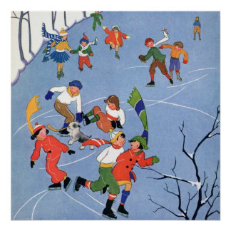 Vintage Christmas, Children Ice Skating on a Lake Poster
