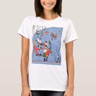 Vintage Christmas, Children Ice Skating on a Lake T-Shirt