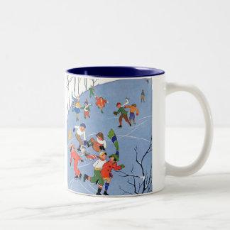 Vintage Christmas, Children Ice Skating on a Lake Two-Tone Coffee Mug