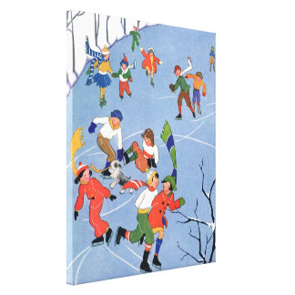 Vintage Christmas Children Ice Skating on a Pond Gallery Wrap Canvas