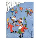 Vintage Christmas, Children Ice Skating on a Pond Postcard