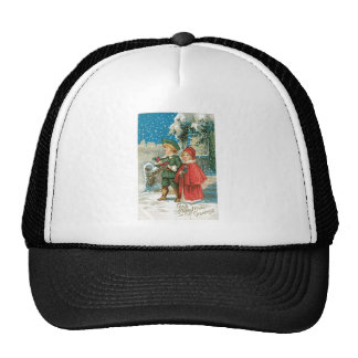 Vintage Christmas Children in the Snow Hats