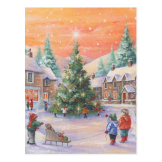Vintage Christmas Children In The Snow Postcard