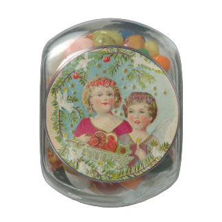 Vintage Christmas Children Jelly Belly Candy Jars