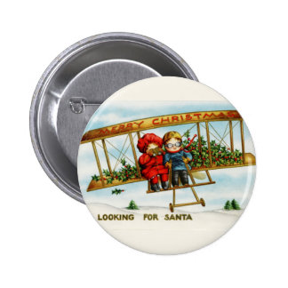 Vintage Christmas Children Looking For Santa Button