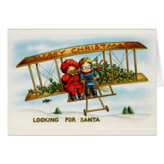 Vintage Christmas Children Looking For Santa Card