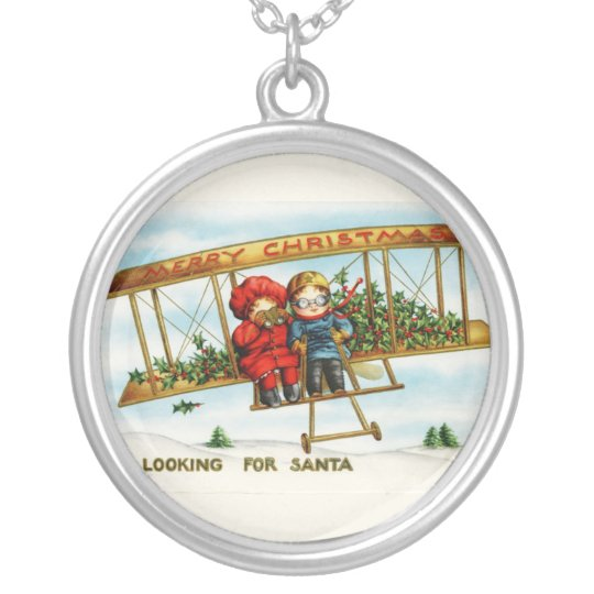 Vintage Christmas Children Looking For Santa Silver Plated Necklace