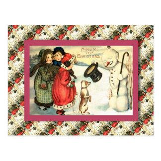 Vintage Christmas, Children meet a real snowman Postcard