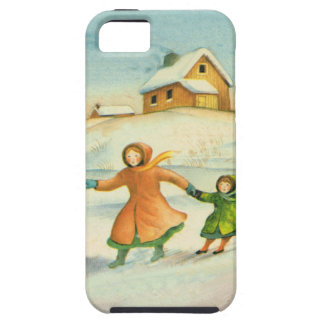 Vintage Christmas, children playing iPhone 5 Cases
